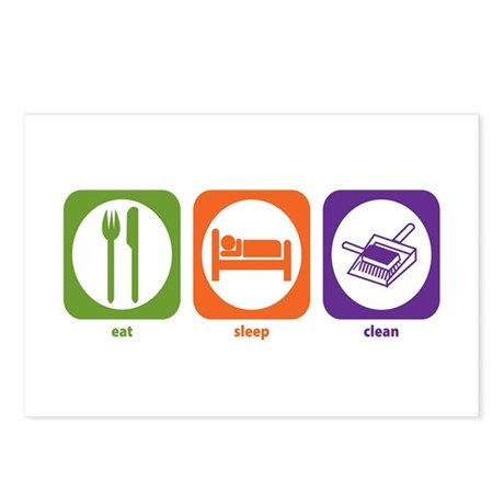 Eat Sleep Clean Postcards (Package of 8)