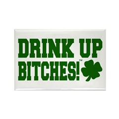 Drink Up Bitches T Shamrock Rectangle Magnet (10 p