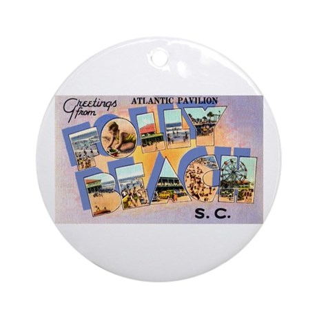 Folly Beach South Carolina Ornament (Round)