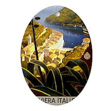 Antique 1920 Italian Riviera Travel  Oval Ornament