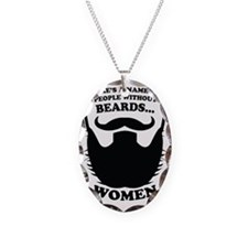 Facial Hair Humor Necklace Oval Charm