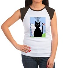 Cat and spider shower c Women's Cap Sleeve T-Shirt