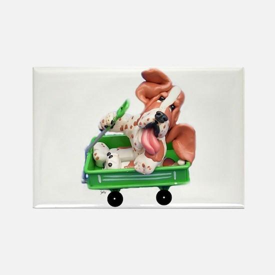 Cute Basset hound dog Rectangle Magnet