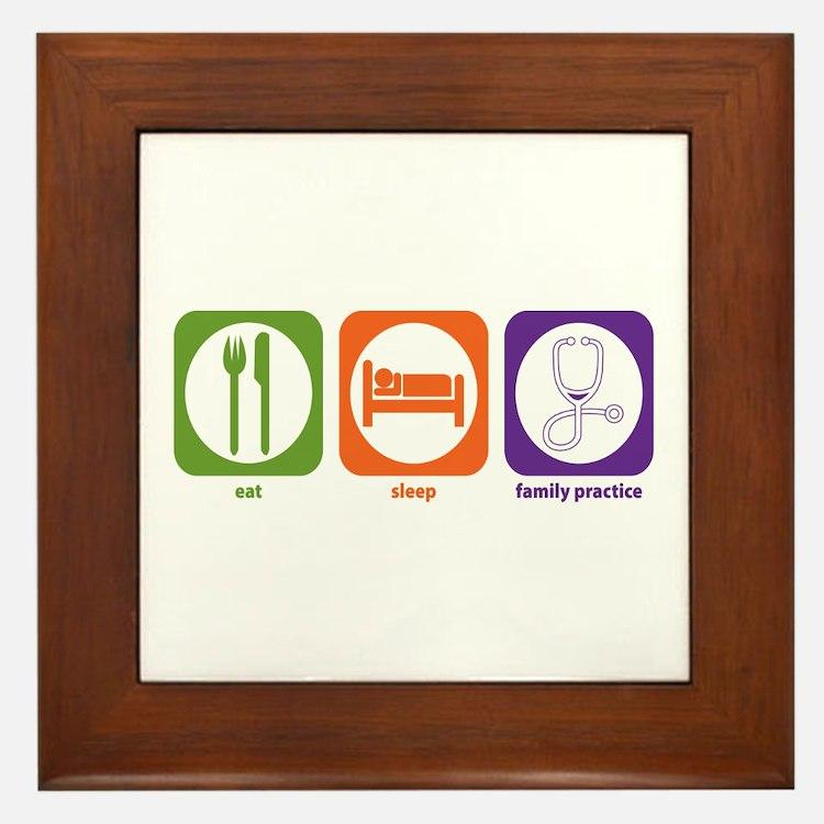 Eat Sleep Family Practice Framed Tile