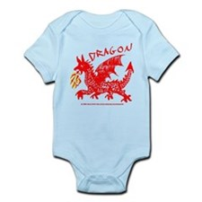 Red Gestural Dragon Infant Bodysuit