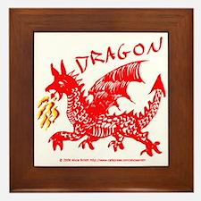 Red Gestural Dragon Framed Tile