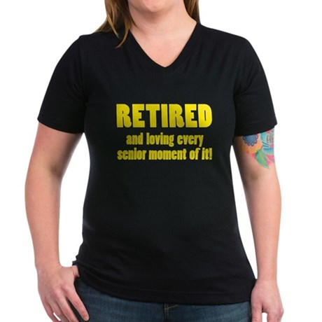 Retired Women's V-Neck Dark T-Shirt
