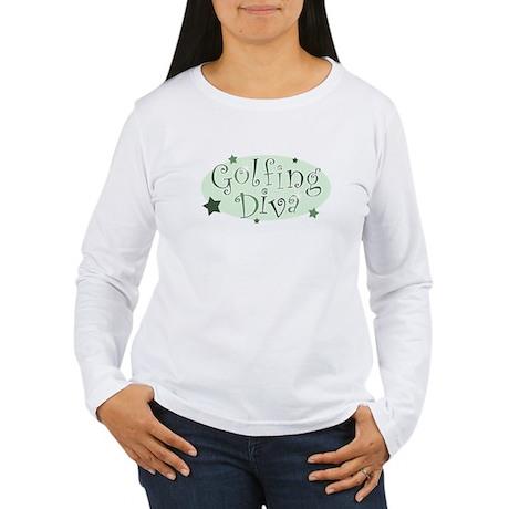"""""""Golfing Diva"""" [green] Women's Long Sleeve T-Shirt"""