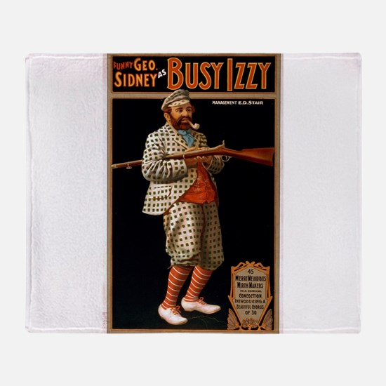 Busy Izzy 2 - US Lithograph - 1902 Throw Blanket