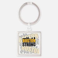 Boston Strong Orange Black Square Keychain
