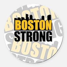 Boston Strong Orange Black Round Car Magnet