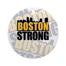 Boston Strong Orange Black Round Ornament