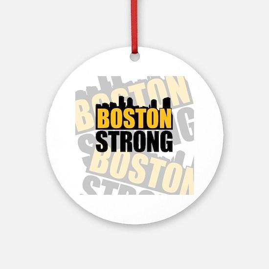 Boston Strong Orange Black Round Ornament