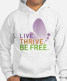 LIVE. THRIVE. BE FREE. on White Hoodie