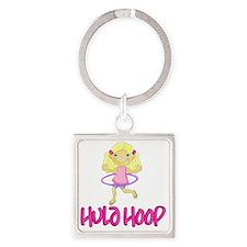 Hula Hoop Girl -Pink- Square Keychain