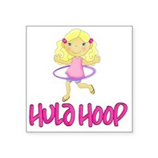 "Hula Hoop Girl -Pink- Square Sticker 3"" x 3"""