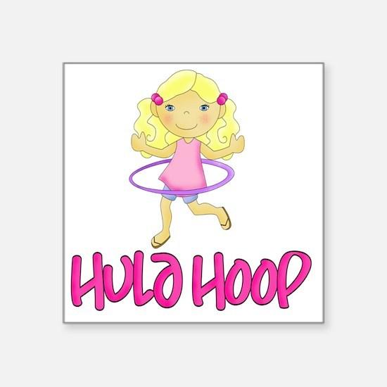 "Hula Hoop Girl -Pink- Square Sticker 3"" x 3"""