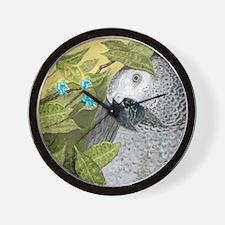 African Grey Congo Portrait Wall Clock
