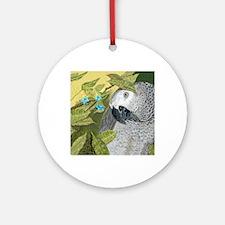 African Grey Congo Portrait Round Ornament