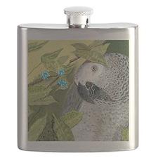 African Grey Congo Portrait Flask