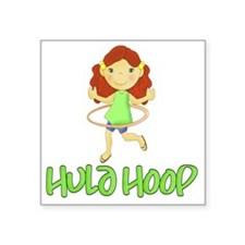 "Hula Hoop Girl (Green) Square Sticker 3"" x 3"""