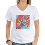 Multicolor Oak Leaf Art Women's V-Neck T-Shirt