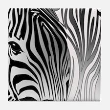 Zebra Contrast Black and White Tile Coaster