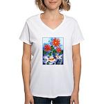 Fish and Flowers Art Women's V-Neck T-Shirt