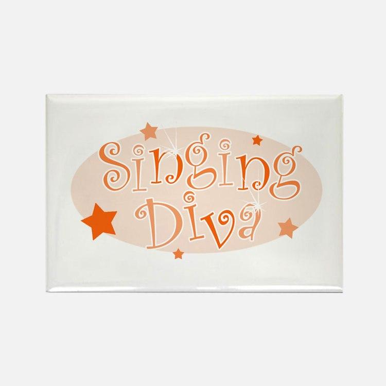 """Singing Diva"" [orange] Rectangle Magnet"