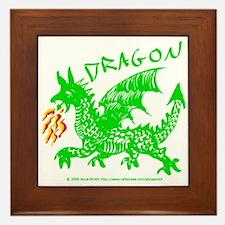 Green Gestural Dragon Framed Tile