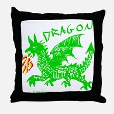 Green Gestural Dragon Throw Pillow