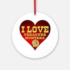 I Love Treasure Hunters Round Ornament