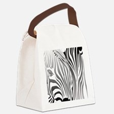 Zebra Silver and Black Canvas Lunch Bag