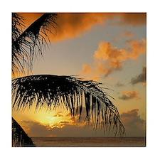 Sunset North Shore Oahu Tile Coaster