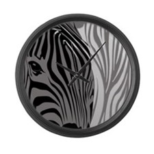 Zebra Fantasy - Gray Large Wall Clock