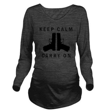 Keep Calm Carry On Long Sleeve Maternity T-Shirt