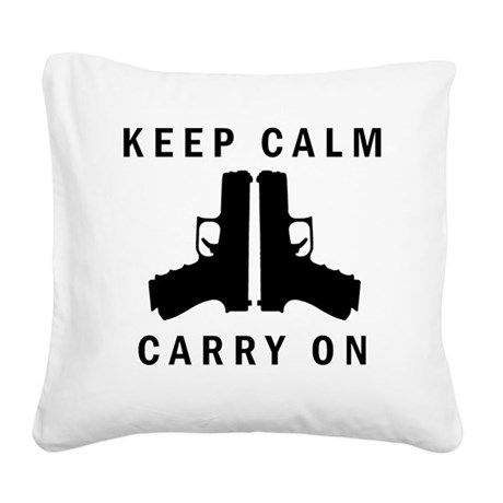 Keep Calm Carry On Square Canvas Pillow