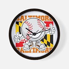 Baseball Dude Baltimore Wall Clock
