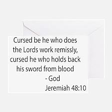jeremiah 48.10 black Greeting Card