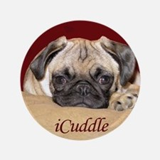 """Adorable iCuddle Pug Puppy 3.5"""" Button"""
