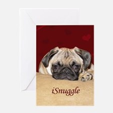 Adorable iSnuggle Pug Puppy Greeting Card