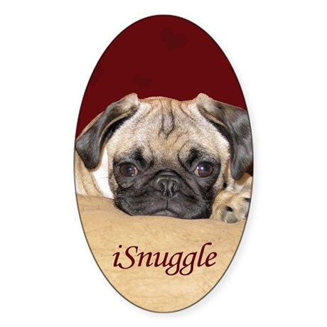 Adorable iSnuggle Pug Puppy Sticker (Oval)