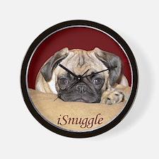 Adorable iSnuggle Pug Puppy Wall Clock