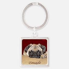Adorable iSnuggle Pug Puppy Square Keychain