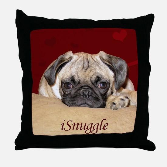 Adorable iSnuggle Pug Puppy Throw Pillow
