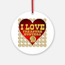 I Love Treasure Hunters Coin Mosaic Round Ornament