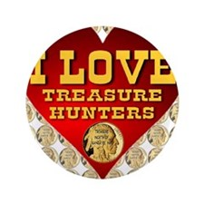 "I Love Treasure Hunters Coin Mosaic 3.5"" Button"