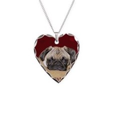 Adorable iSnuggle Pug Puppy Necklace Heart Charm