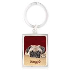 Adorable iSnuggle Pug Puppy Portrait Keychain