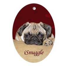 Adorable iSnuggle Pug Puppy Oval Ornament